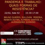 """Mesa """"Pandemia e Trabalho: quais formas de resistência?"""""""