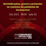 """Mesa """"Reivindicações, Greves e Protestos no contexto da pandemia do coronavírus"""""""